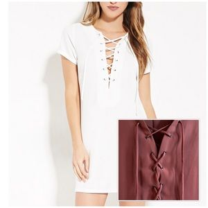 Lace-Up Shift Dress in PINK